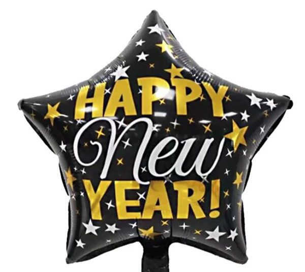 Picture of Foil balloon star - Happy new year  (45cm)