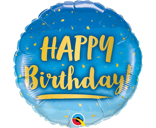 Picture of Foil balloon Ηappy birthday blue