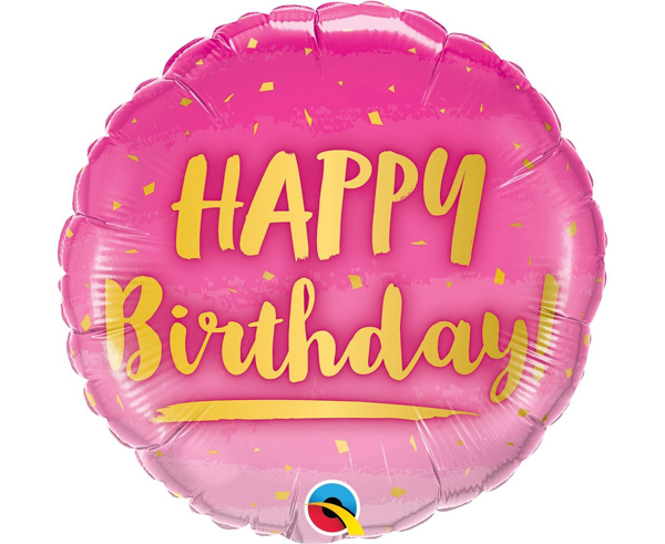 Μπαλόνι foil Happy birthday ροζ
