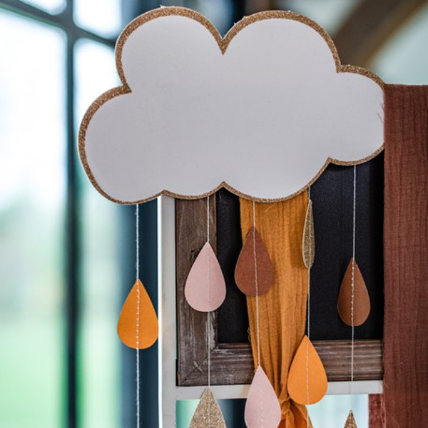 Picture of Decorative cloud with drops glitter rose gold and gold