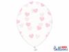 Μπαλόνια διάφανα με ροζ καρδιές (σετ 6)