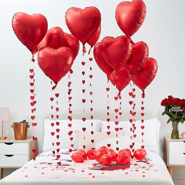 Ρομαντικό σετ διακόσμησης - Μπαλόνια και κομφετί