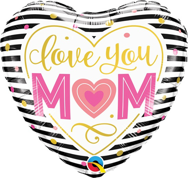 Picture of Heart Balloon - Love you mom stripes