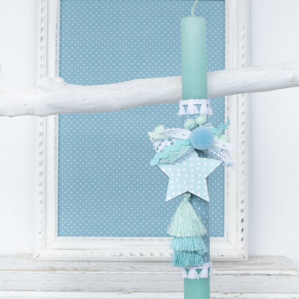 Picture of Easter candle - Light mint little star