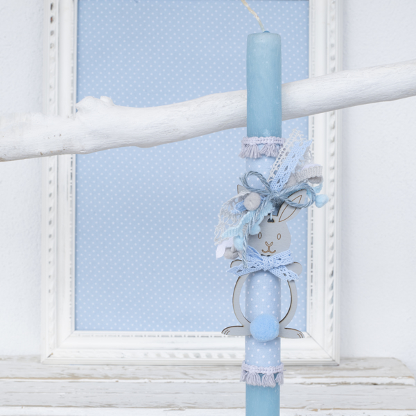 Picture of Easter candle - Grey blue little bunny