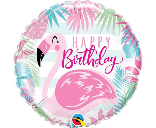 Picture of Foil balloon Ηappy birthday flamingo