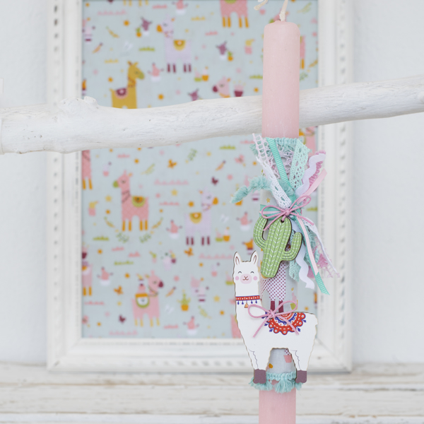 Picture of Easter candle - Lama pink