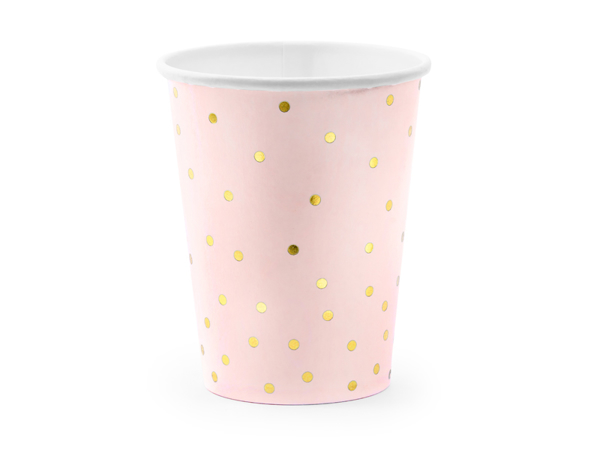Picture of Paper cups - Powder pink with gold polka dots