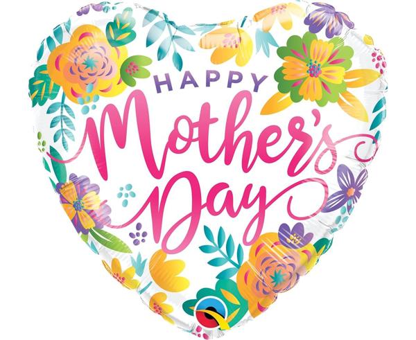 Μπαλόνι Foil σε σχήμα Καρδιά - Happy mother's day floral