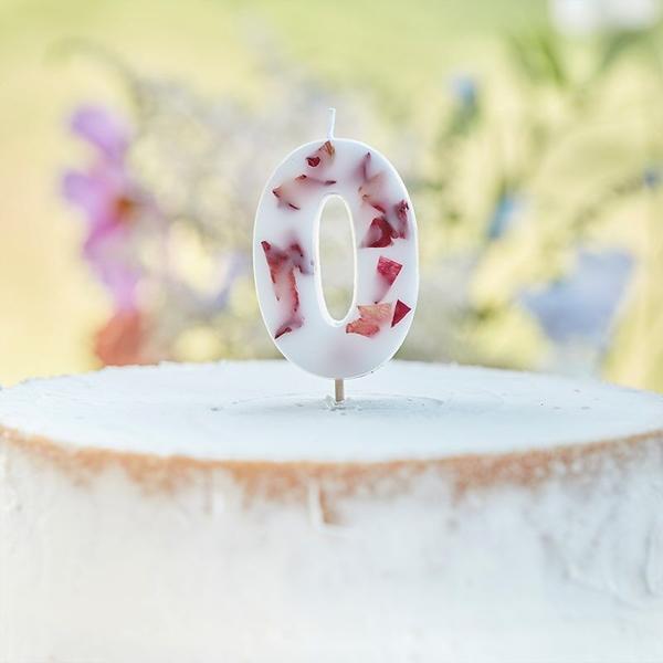 Κερί αριθμός 0 λευκό με πέταλα από άνθη