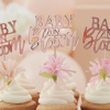 Picture of Rose gold floral cupcake toppers -Baby in bloom