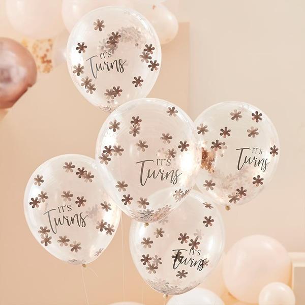 Μπαλόνια με ροζ χρυσά κομφετί - Twins