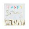 Picture of Paper napkins - Happy Birthday gold with fringes