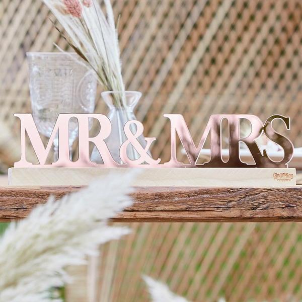 Διακοσμητικά γράμματα Mr&Mrs σε ροζ χρυσό
