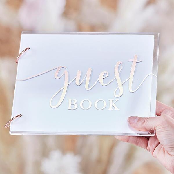 Ευχολόγιο - Βιβλίο Guestbook (ροζ χρυσό)