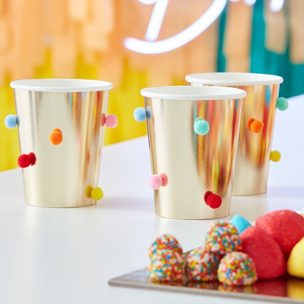 Picture of Paper cups - Gold with pom pom