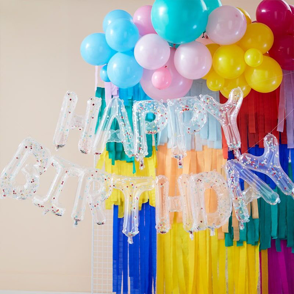 Picture of Happy Birthday Balloon Banner - Clear with multicoloured confetti