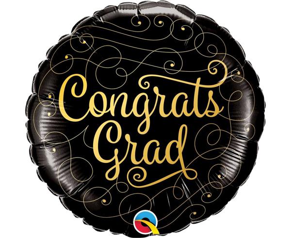 Μπαλόνι foil αποφοίτησης - Congrats Grad μαύρο