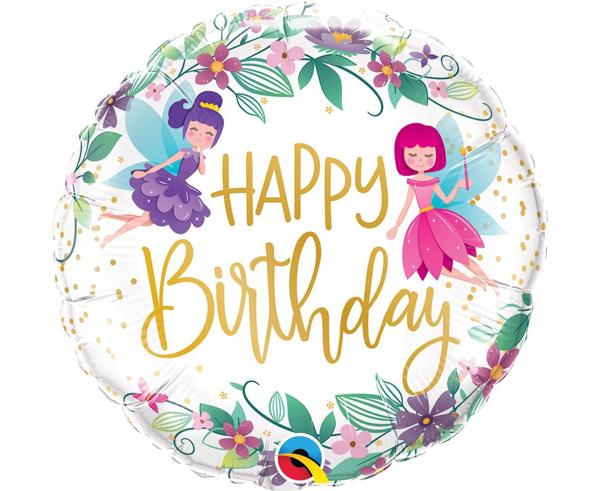 Μπαλόνι foil Happy birthday νεράιδες