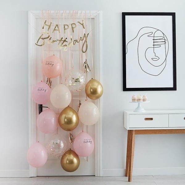 Διακόσμηση πόρτας - Happy birthday ροζ