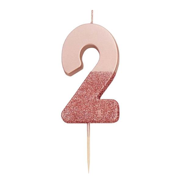 Κερί αριθμός 2 ροζ χρυσό με γκλίτερ