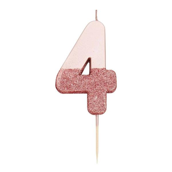 Κερί αριθμός 4 ροζ χρυσό με γκλίτερ