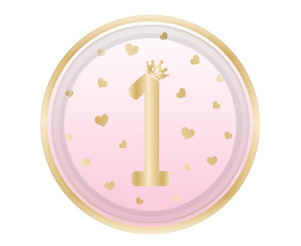 Χάρτινα πιάτα φαγητού - 1st Birthday ombre ροζ