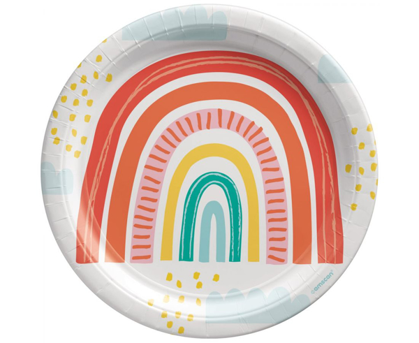 Picture of Paper plates (23cm) - Retro rainbow
