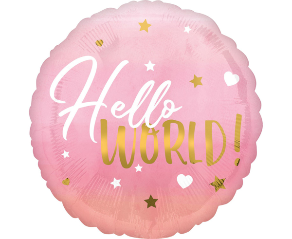 Picture of Foil balloon  Hello world pink
