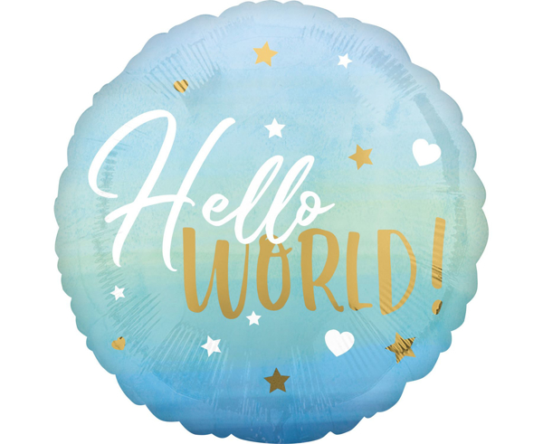Picture of Foil balloon Hello world light blue