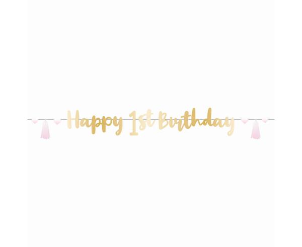 Γιρλάντα - 1st birthday ροζ