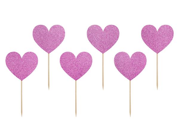 Διακοσμητικά sticks για cupcakes - Γκλίτερ καρδιές σε  μοβ