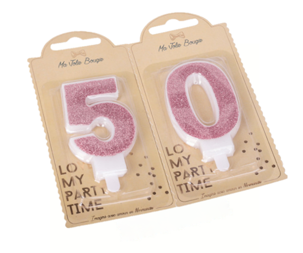 Picture of Rose gold Glitter 50 Number Candles