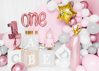 """Picture of Foil Balloon Number """"1"""" with crown, 90cm, pink"""