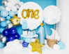 """Picture of Foil Balloon Number """"1"""" with crown, 90cm, light blue"""