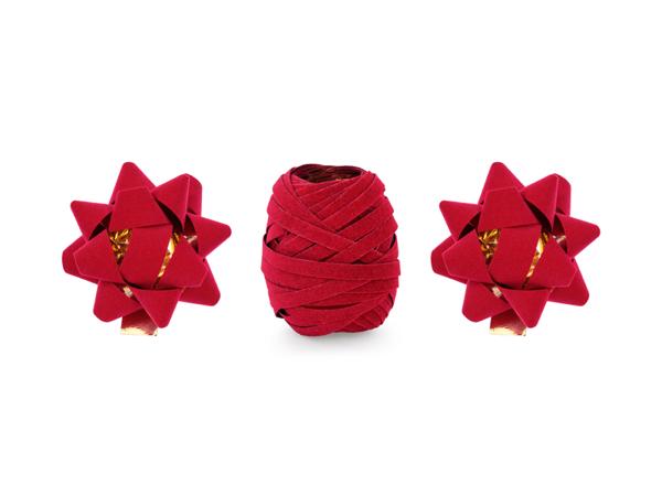 Σετ κορδέλα και 2 ροζέτες σε κόκκινο βελούδο