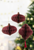 Picture of Paper honeycomb ornament deep red with tassel