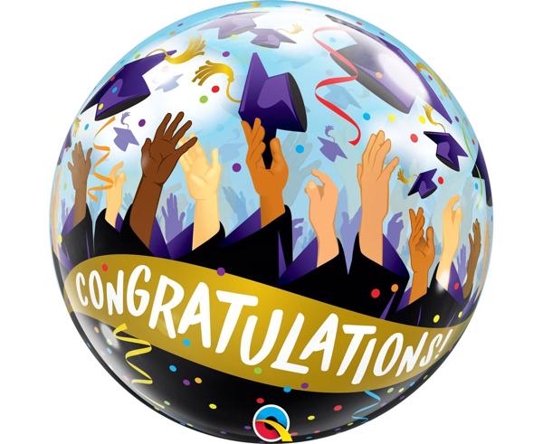 Μπαλόνι αποφοίτησης σε στρόγγυλο σχήμα - Congratulations!
