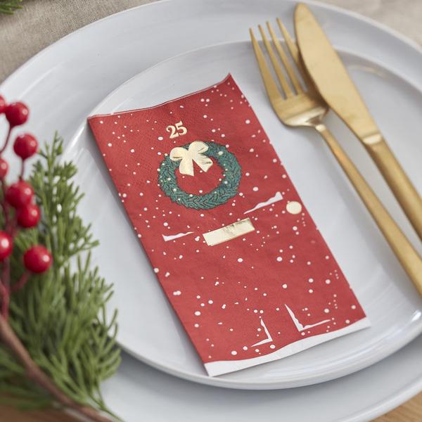 Picture of Paper napkins - Christmas door