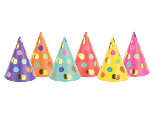 Καπελάκια για πάρτι πουά (σετ 6)