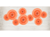 Picture of Peach Tissue Fan Decorations (set 3)